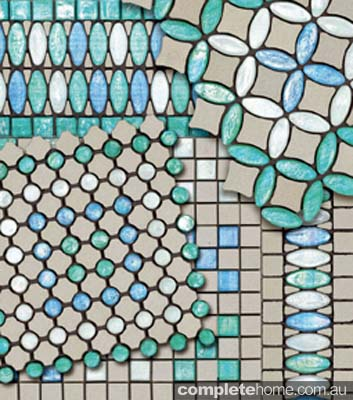 Sicis tiling aqua and white and blue tiles by Elite