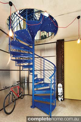 spiral blue steel staircase