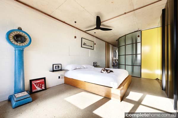 recessed brickwork modern bedroom