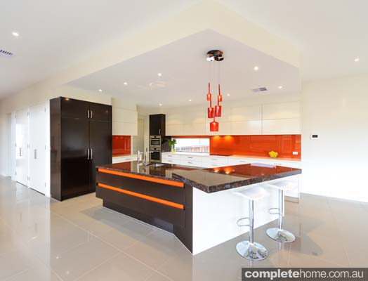 Modern red terra kitchen design