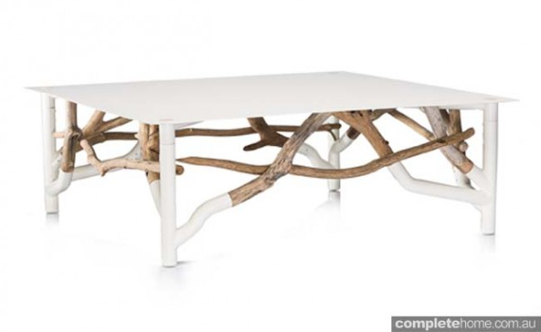 Outdoor table white and timber unusual by Coco Republic