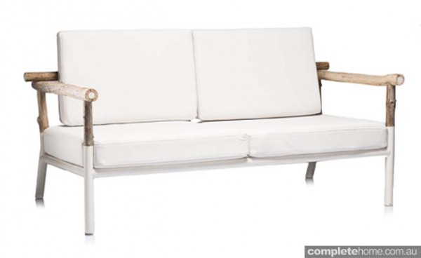 outdoor sofa by Coco Republic white and timber