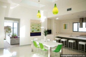 green and white dining room