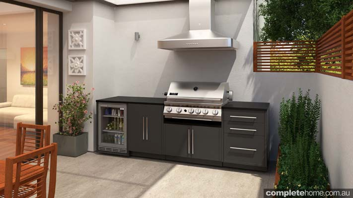 outdoor kitchen design ideas with wine storage bbq and rangehood