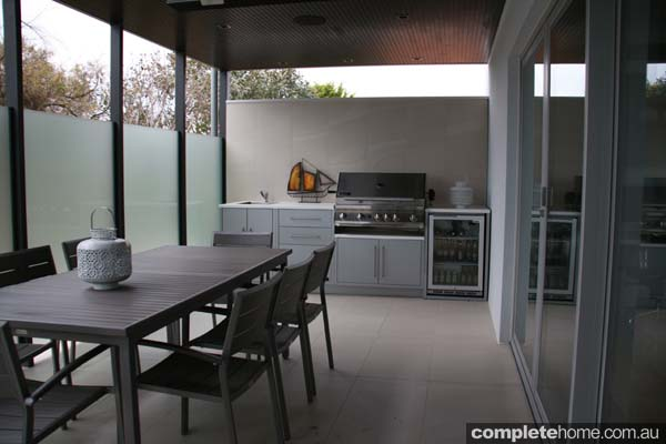 outdoor kitchen design ideas with wine storage and bbq with entertaining area