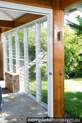 wooden framed bi fold doors leading to entertaining area