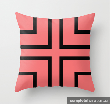 Audra Black and coral cushion - by Cate Legnoverde