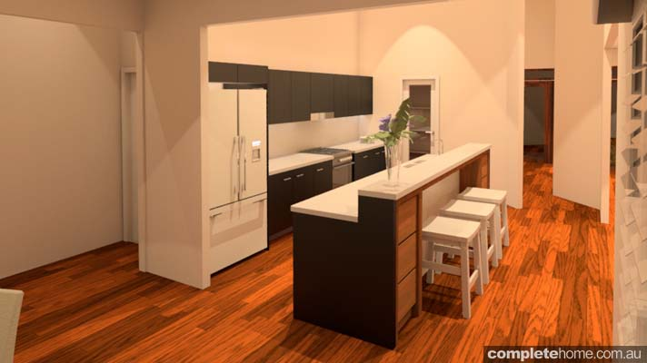 rustic touch banksia kitchen and bench servery area