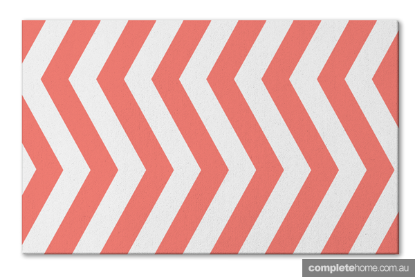 Chevron coral rug by Xavier&Me