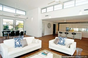 high ceilings with modern design features in this lounge area