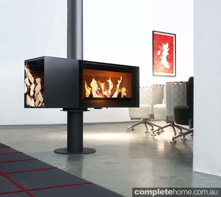 rotating modern fireplace