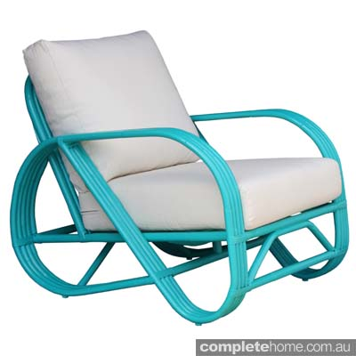 Pretzel Cane Armchair Turquoise