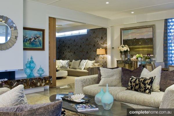 Glamorous and eclectic living area