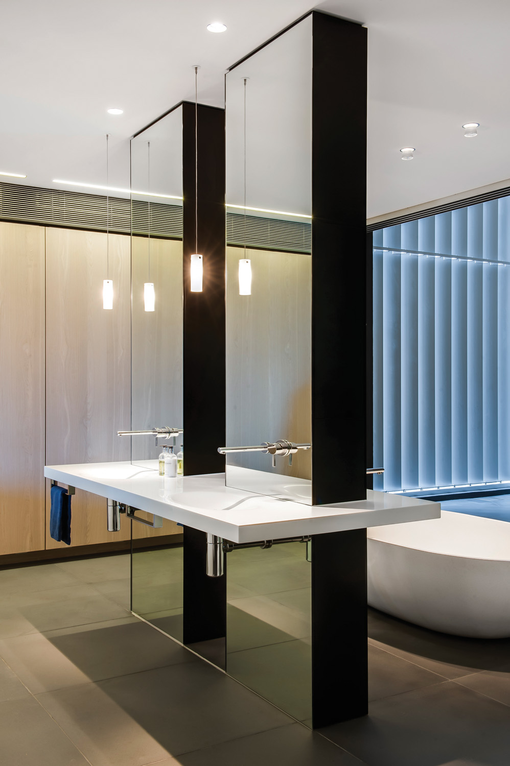This award-winning bathroom design reflects the cutting-edge architect-designed home
