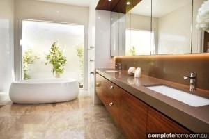 timber vanity in modern bathroom