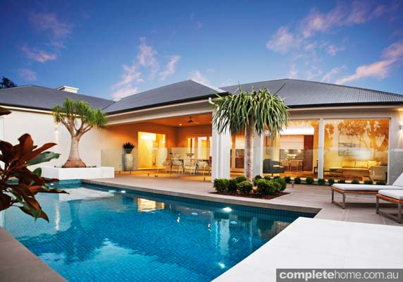 chic pool and entertaining area