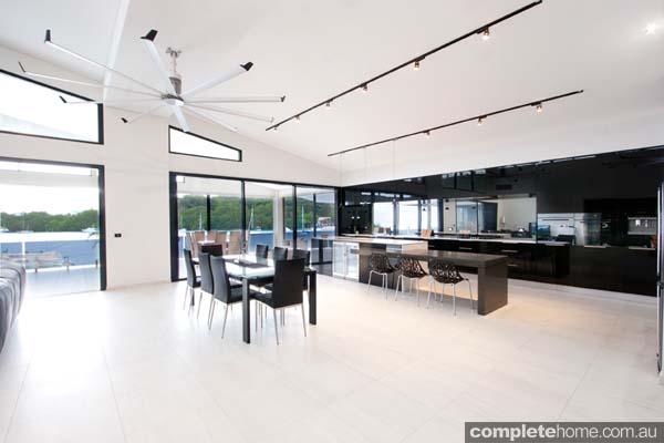 vanuatu enigma kitchen black gloss panelling port villa views
