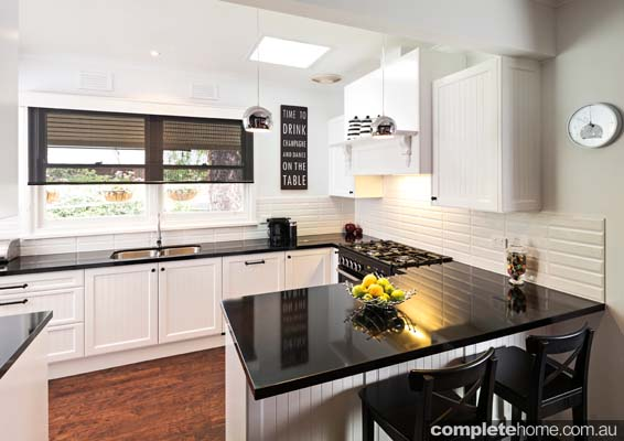 White Kitchen Black Benchtop timeless traditional charm - completehome