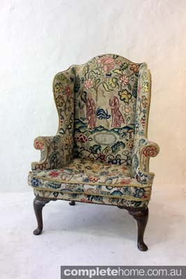 vintage wing backed chair
