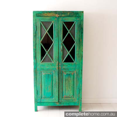 green vintage diamond cabinet