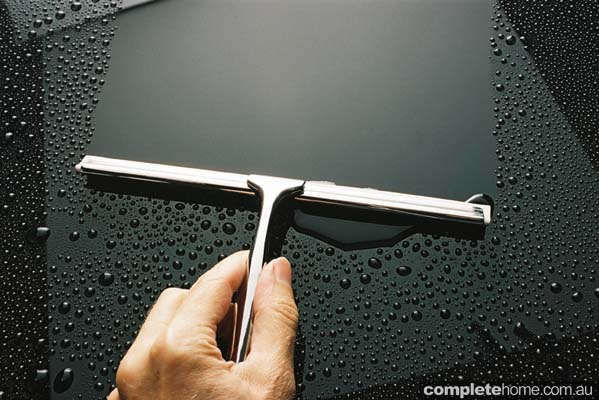 The Squeegee — the perfect solution for removing ugly water spots and soap film from glass, mirrors, tiles and marble surfaces