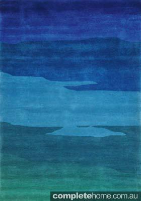 Festival blue acrylic rug
