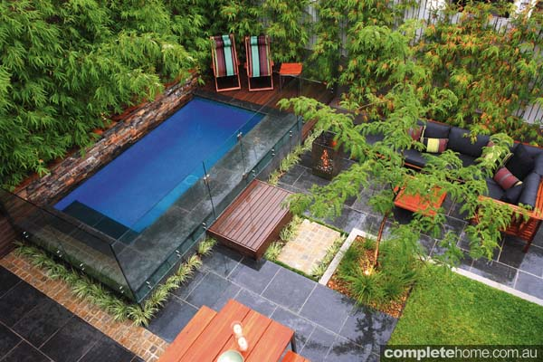 Various levels add a sense of space to the overall pool and landscape design