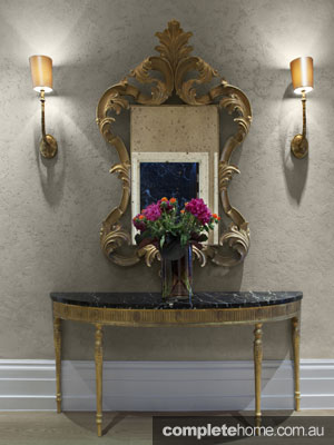 Elegant Loondon mansion apartment renovation - gold side table and mirror