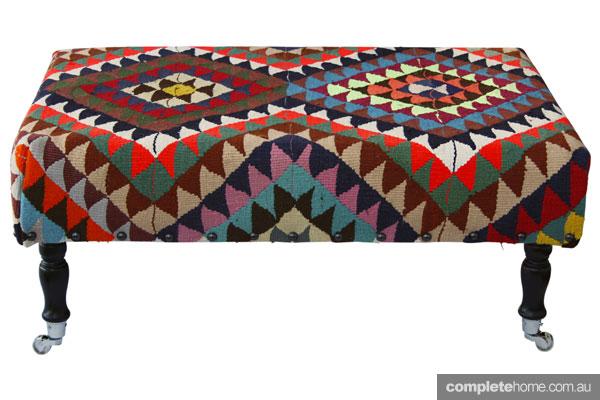 Mismatched prints - patterned ottoman