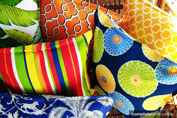 Mismatched prints - bright cushions