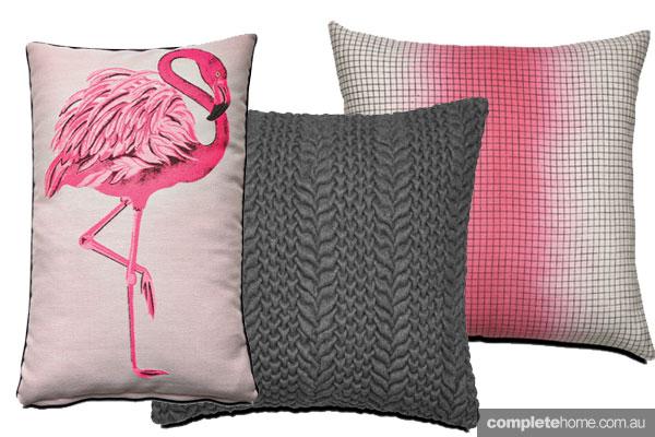 Boconcept cushions flamingo pink and grey