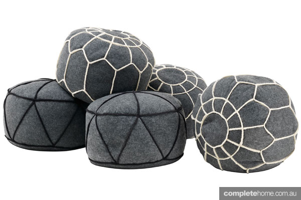 Boconcept interior floor cushions grey black and white