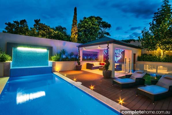 Night backyard pool