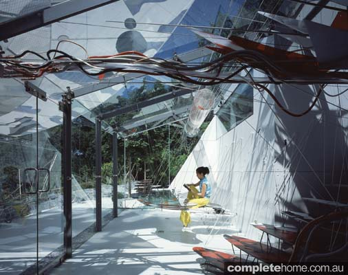 Butterfly House with suspended glass table