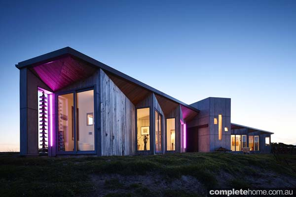 Whale tail shaped house night view