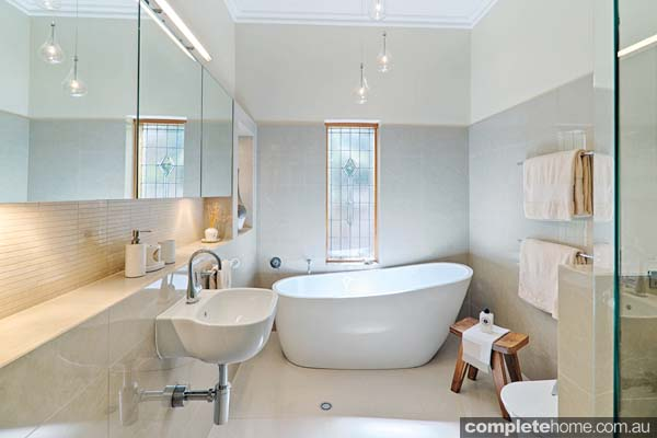 Embracing modern design, this 1920s Californian Bungalow bathroom has been transformed into a chic and luxurious haven.