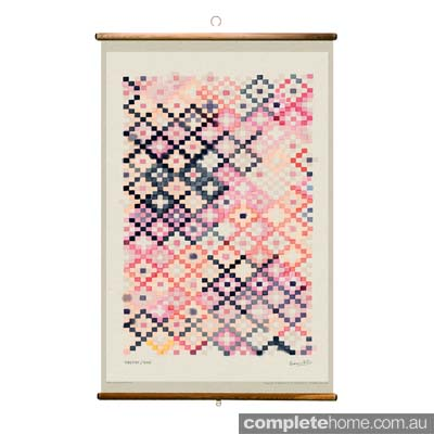 Watercolour diamond kilim pattern on a rose tapestry