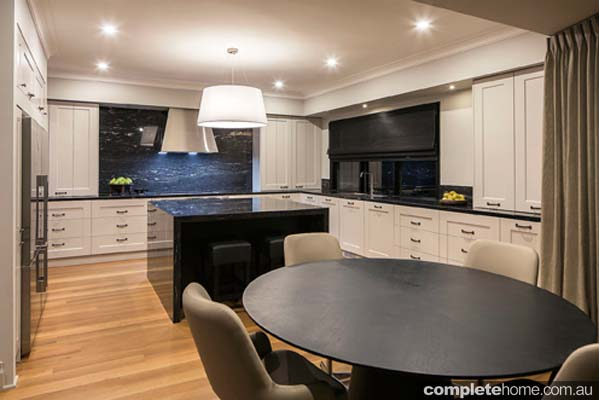 Take the splashback all the way up and across the wall behind the rangehood canopy to make the cooktop area an impressive focal point of the space.