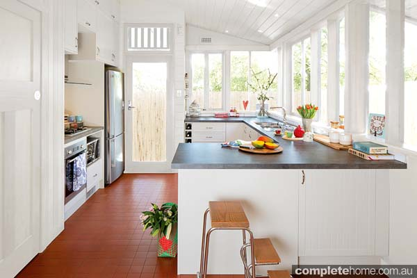 Set in a fairly confined space, this kitchen — which is currently on display in Bunnings Warehouse — is modern, functional, and adds a country-feel to any property.