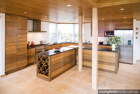 With beautiful hand-stained cabinetry, this kitchen by Smith & Smith offers superior craftsmanship and a contemporary feel.
