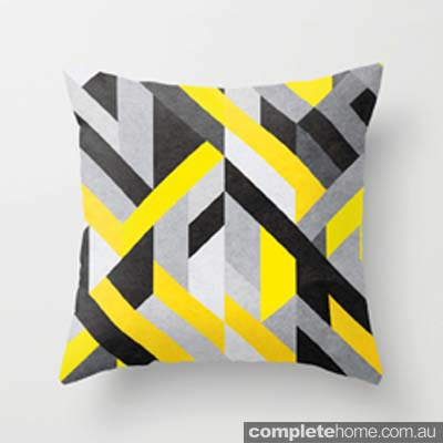 Habitots Grey & Yellow Modern Geometric Cushion