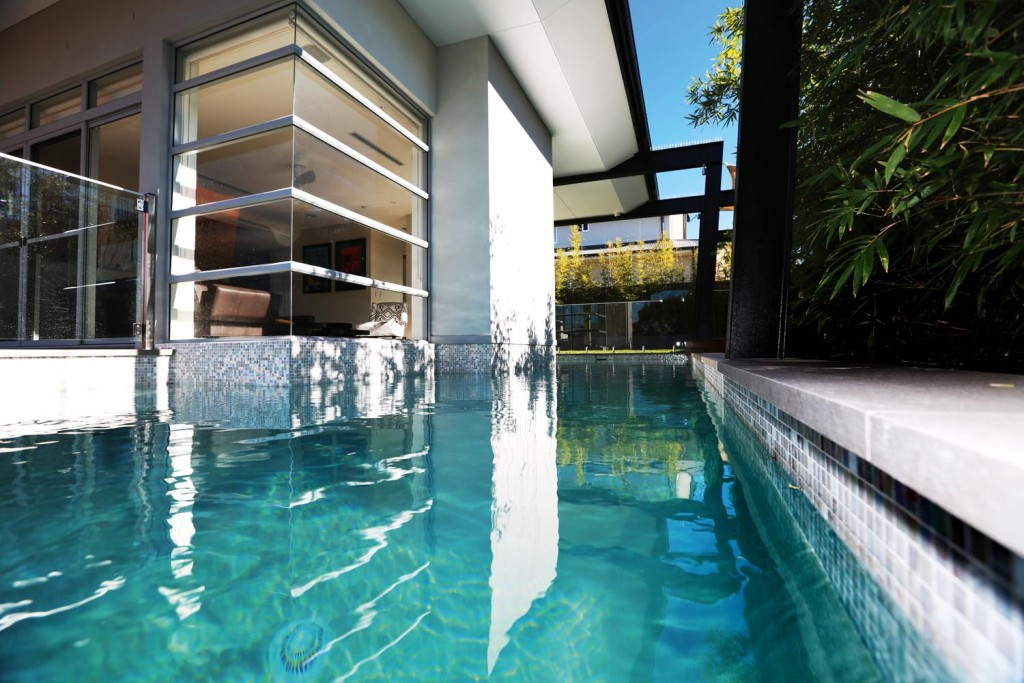 The pool creates a relaxed and luxurious effect