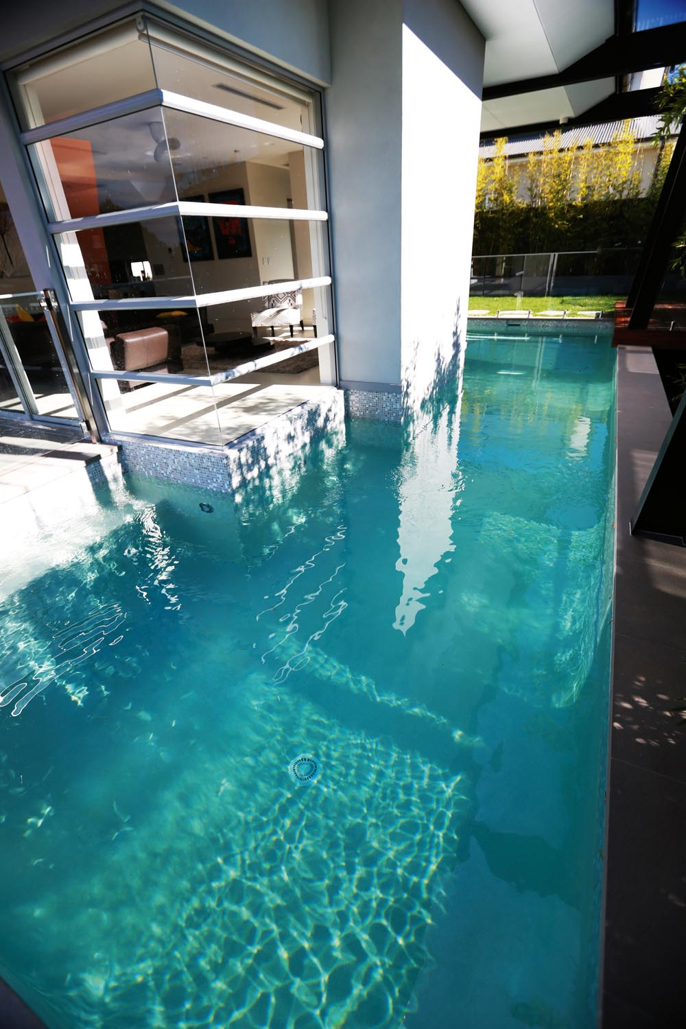 This wrap around lap pool is perfect for a quick dip