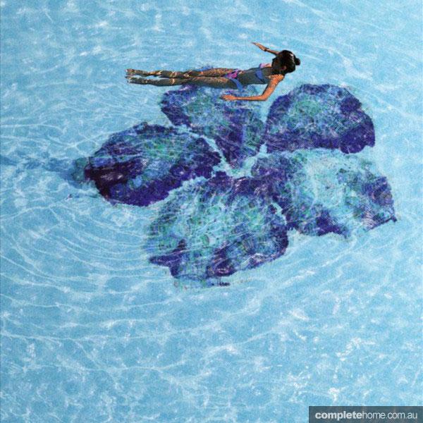 Hibiscus flower mosaic pool design tiling