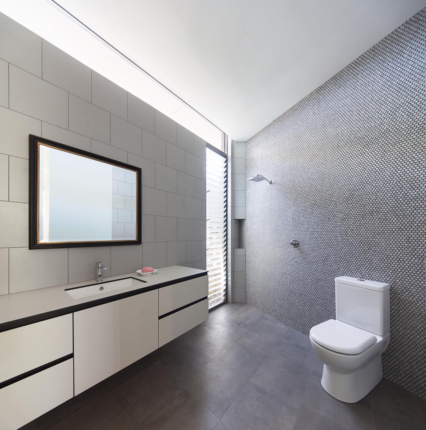 Simple, clean and stylish describe this bathroom