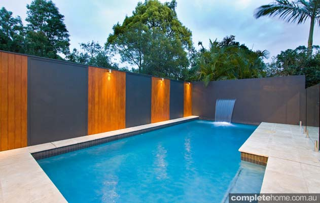 Of elegant design, this sleek swimming pool cuts a contemporary figure