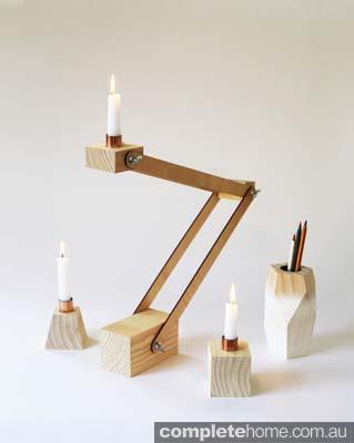 The Design Farm_COPPER GLOH task lamp COPPER GLOH candle holders GLOH taller tall vessel white