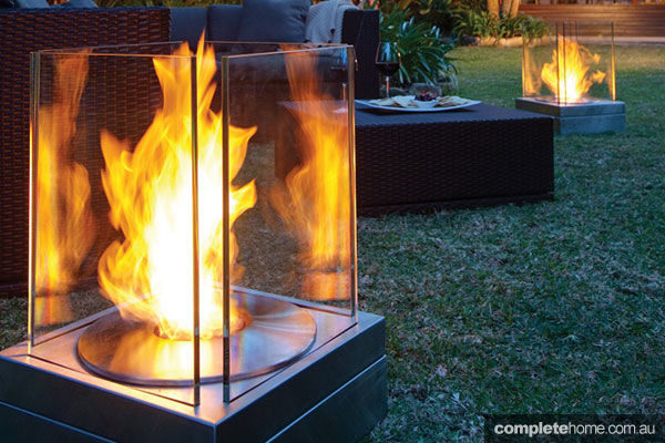 outdoor fireplace feature