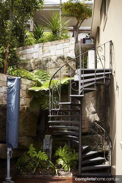 spiral metal garden staircase