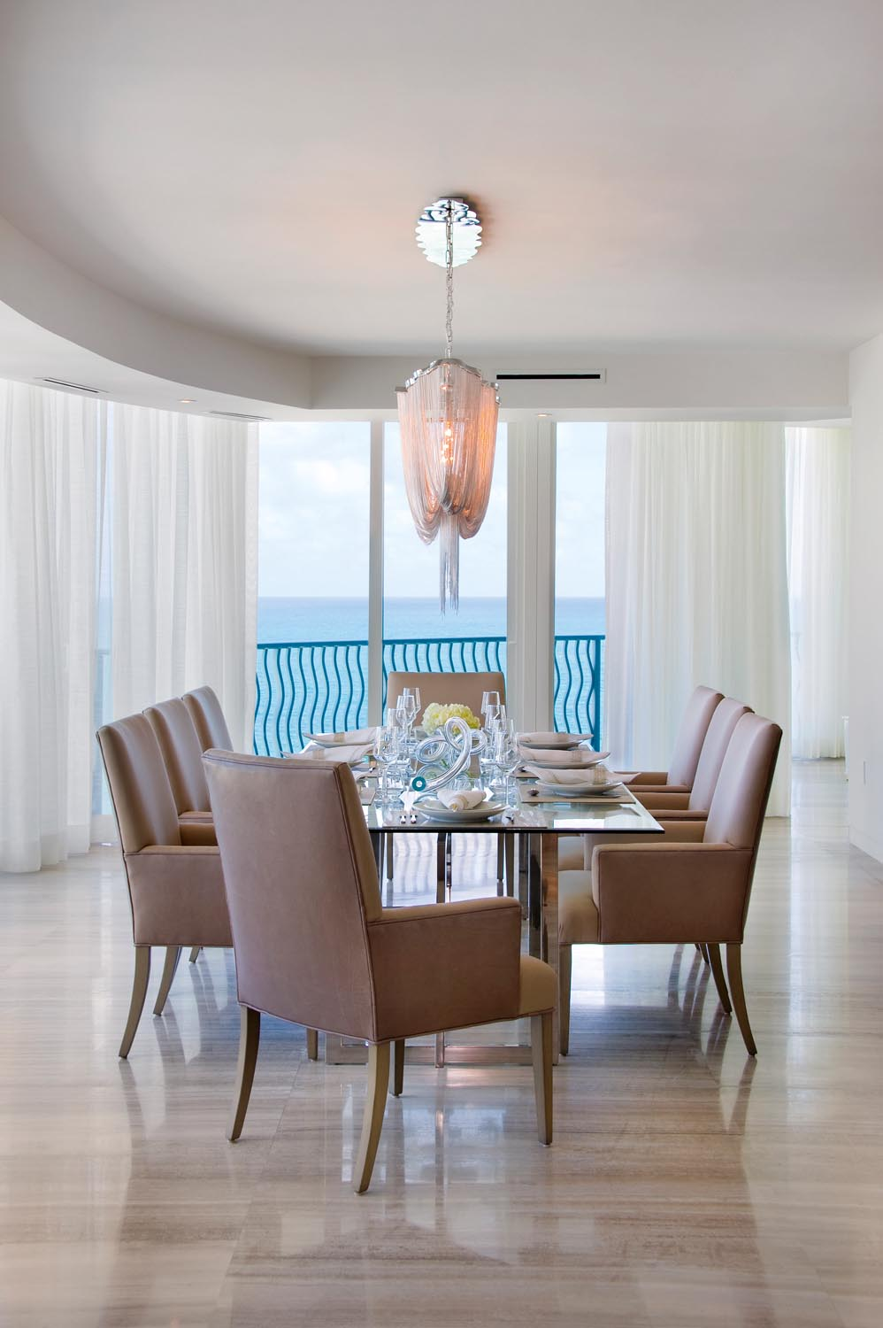 A unique chandelier brings a high-end element to the dining room